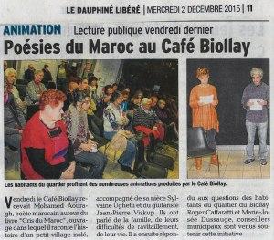 Lectures croisées du vendredi 27 novembre au Café Biollay Chambéry