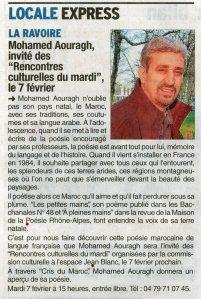 Lectures croisées de quelques poèmes de mon recueil « Cris du Maroc » avec Louise Ronco à l'Espace Jean Blanc en présence de Marc Chauvin adjoint à la culture à la mairie de la Ravoire