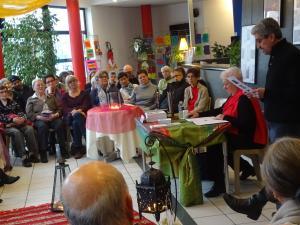 Lectures croisées de quelques poèmes de mon recueil « Cris du Maroc » avec Louise Ronco à l'Espace Jean Blanc en présence de Marc Chauvin adjoint à la culture à la mairie de la Ravoire Photo Guy Baboulin