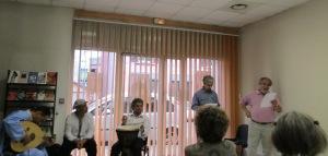 Lecture avec Pierre VIEUGUET ami et membre de la Maison de la Poésie Mohammed EL AMRAOUI poète accompagné par le groupe DIALEK, Abdel SAMOU (banjo,percu) et Hamid HARIR (oud,percu)