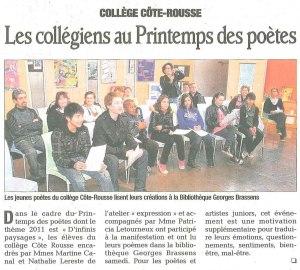 Intervention au Printemps des poètes à la bibliothèque Georges Brassens