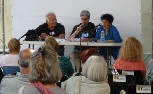 """Lecture de trois de mes poèmes en arabe et en français au festival « Voix de la Méditerranée 2014 » à Lodève, """"Voix Libres"""" le dimanche 20 juillet avec Baya et à Radio Lodève"""