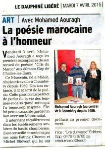 Article de presse sur le recueil de poésie « Cris du Maroc »
